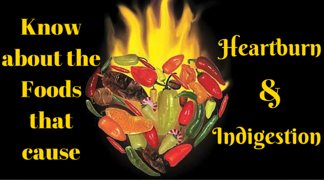 Know about the Foods that cause Heartburn and Indigestion